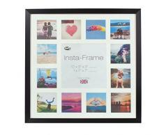 Inov8 16 x 40,64 cm Insta-Frame Marco para Instagram 13/de Estampado a Cuadros de Fotos con paspartú Blanco y Blanco con Borde, Madera de Fresno/con Borde Plateado