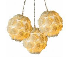 WeRChristmas-Rosa bola cadena de luces decoración de Navidad con 10-LED-luz blanca cálida