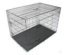 Gr8 Home Jaula de Metal para Mascotas, Perro, Gato, Cachorro, Cachorro, Entrenamiento, Plegable, para Veterinario, Transporte de Animales con asa de Bandeja, Negro, Grande