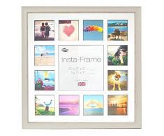 Inov8 16 x 40,64 cm tamaño pequeño Insta-Frame Marco para Instagram 13/de Estampado a Cuadros de Fotos con paspartú Blanco y Negro con Borde, 2 Unidades, se Debe Lavar a Blanco