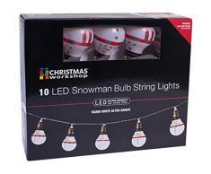 El Navidad Taller funciona con pilas 10LED muñeco de nieve Retro forma de bombilla guirnalda de luces LED, color blanco