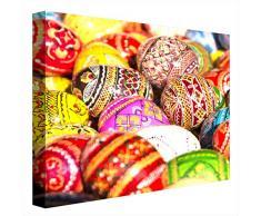 CCRETROILUMINADOS Huevos de Pascua de Colores Cuadros Iluminados con Luz Leds, Metacrilato, Multicolor, 80 x 80