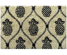 Entryways - Felpudo de Fibra de Coco Tejida a Mano con diseño de Enrejado de piña, 40 x 60 x 25 mm, Color Negro