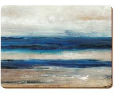 Creative Tops Abstracto Ocean View Premium manteles Individuales de Corcho, Madera, Azul, Grande, Juego de 4