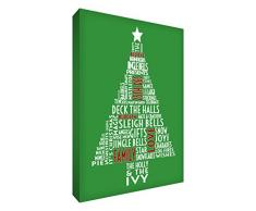 Feel Good Art – lienzo decorativo (30,5 x 20,3 cm), diseño árbol de Navidad _ P, Verde, 12 x 8 pulgadas