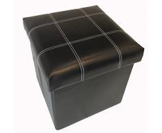 GMMH original - Taburete cubo de almacenamiento para sentarse, caja plegable 38 x 38 x 38 cm - Negro