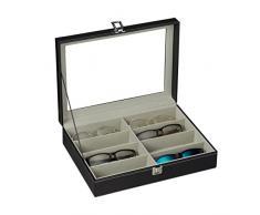Relaxdays Caja Gafas con 8 Compartimentos, Organizador, 1 Ud, Cuero Sintético-Cristal, 8,5 x 33,5 x 24,5 cm, Negro