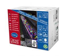 Konstsmide 3720-500 Cluster - Guirnalda de luz led micro (8 funciones, mando y función de memoria, 144 diodos de colores, transformador exterior de 24 V, cable negro)