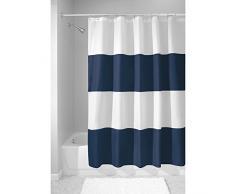 InterDesign Zeno Cortinas de baño de tela, Cortina de ducha impermeable a rayas, Cortina de baño lavable en un tamaño de 183,0 cm x 183,0 cm, Poliéster azul marino/blanco