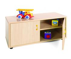 Mobeduc 600102HPS18 - Mueble infantil superbajo/armario con 2 estantes, madera, color haya, 90 x 40 x 44 cm