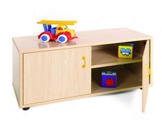 Mobeduc Mueble Infantil Superbajo Armario 2 estantes, Haya, Haya, 90x40x44 cm