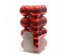 Decoris Juego de 16 Bolas de Navidad, Color Rojo