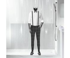 Spirella colección Dandy, Cortina de Ducha Textil 180 x 200, 100% Polyester, Negro, PEVA