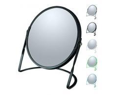 Spirella colección Akira, Espejo de pie para tocador o baño 18,4x10,5x18,4 (Reversible: 100% y x5 aumentos), Acero, Negro