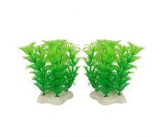 Sourcingmap Plástico Planta Artificial Fish Tank Plantas Decoración, Verde, 2 piezas