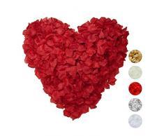 Relaxdays Pétalos de Rosa, Pack de 3000, Flores Artificiales, Decoración Boda, San Valentín, Tela, 5 x 5 cm, Burdeos