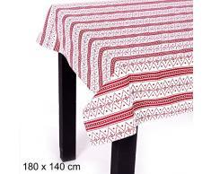 JUINSA Mantel Navidad algodón 180x140cm, Rojo y Blanco, 180x150 cm