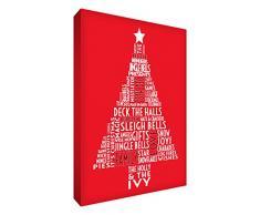 Feel Good Art - lienzo decorativo (30,5 x 20,3 cm), diseño árbol de Navidad _ P, Rojo, 12 x 8 pulgadas