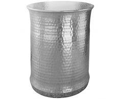 Wohnling mesa auxiliar Tarun 41x 50x 41cm Aluminio Plata redondo con motivos orientales, pequeño sofá mesa metal martillado, Diseñador estante mesa Modern, anstell mesa estrecho, Salón Mesa Mesa, 45x 45x 56cm