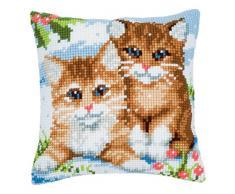 Vervaco - Kit para cojín de punto de cruz, diseño de gatos y nieve, multicolor