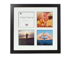 Inov8 16 x 40,64 cm Insta-Frame Kayla marco para Instagram 4/de estampado a cuadros de fotos con paspartú blanco y negro con borde, 2 unidades, negro