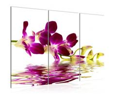 Cuadro de pared de flores y orquídeas, 120 x 80 cm, lienzo de fieltro, tamaño XXL, 3 piezas, fabricado en Alemania, listo para colgar