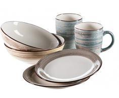 Mäser 931379 Serie Duole - Vajilla de desayuno para 2 personas (6 piezas, cerámica), diseño vintage