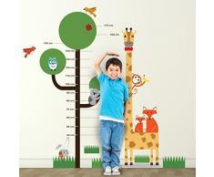 extraíble Autoadhesivo Adhesivos de pared Animales Niños Medición Arte Mural VINILO DECORACIÓN HOGAR BRICOLAJE Living Dormitorio Decor papel pintado HABITACIÓN INFANTIL REGALO 60x90 cm, Multicolor