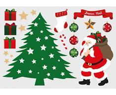 Decoloopio Pegatina para Decoración de Navidad Tabla Déco Árbol, multicolor, multicolor, 21 x 30 cm