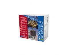 Konstsmide guirnalda de Micro LED, con 9 horas temporizador, aislado/fundido alrededor, 120 diodos de luz blanca cálida, 24 V transformador exterior, soft-Cable negro 6632-117