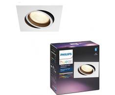 Philips Hue Plafón Centura 1 Foco LED Inteligente GU10, 5.7 W, Aluminio, Luz Blanca y Color, Compatible con Bluetooth y Zigbee, Compatible con Alexa y Google Home, Color Blanco con Negro