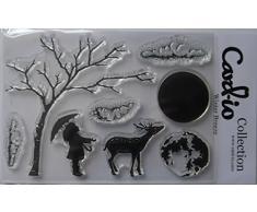 Card-io - Juego de Sellos Transparentes para niños, diseño de árbol de Navidad con Renos y Luna (8 Unidades)