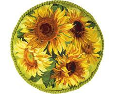 Riolis – Kit de punto de cruz, diseño de Cojín de girasol, 100% algodón, multicolor