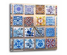 3dRose Portugal, Lisbon, Alfama District, Muchas Versiones de Reloj de Pared Colorido de Azulejos, 13 x 13 Pulgadas (DPP_249437_2), varía