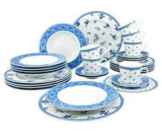 Creatable 19164 Country Blue - Vajilla (30 piezas, porcelana), color azul