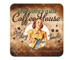 Nostalgic-Art - café y Chocolate y café House Lady -etal Posavasos - 9 x 9 cm