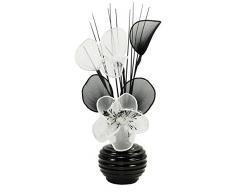 Flourish Blanco Flores Artificiales con Negro Jarrón, decoración, Accesorios del Hogar y Decoración Adecuado para baño, Dormitorio o Cocina Ventana/estantería, 32cm