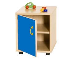 Mobeduc 600110HPS20 - Mueble infantil superbajo/armario con 2 estantes, madera, color haya y azul oscuro, 36 x 40 x 44 cm
