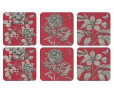 Pimpernel Etchings y rosas posavasos, madera, rojo, tamaño mediano, juego de 6