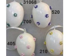 Escofina huevos de Pascua con flores de perlas, 42 x 58 mm, luz rosa