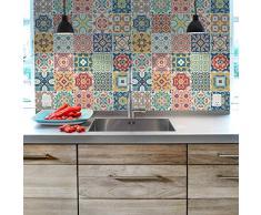 Ambiance-sticker Pegatinas de Azulejos Adhesivas – Adhesivos de Azulejos de Cemento – Decoración de Pared para baño y Cocina – Azulejos de Cemento Adhesivo de Pared – 10 x 10 cm – 30 Unidades