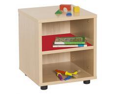 Mobeduc 600109HP10 - Mueble infantil superbajo/estantería, madera, color haya y rojo cereza, 36 x 40 x 44 cm