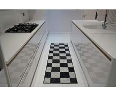 Serdim Rugs Gelback Alfombras Antideslizantes de diseño geométrico para Cocina y Pasillo, Cuadrado Negro, 80x300cm(26 x910)