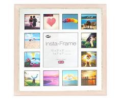 Inov8 16 x 40,64 cm tamaño pequeño Insta-Frame Marco para Instagram 13/de estampado a cuadros de fotos con paspartú blanco y negro con borde, 2 unidades, se debe lavar a rosa
