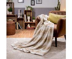 Sancarlos JASA- Plaid sofá, Manta multiusos, Color Crema, Tamaño 130x160 cm