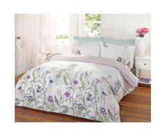 Just Contempo - Juego de funda nórdica y dos fundas de almohada, diseño reversible con motivo floral, multicolor, mezcla de algodón, azul/morado/verde, cama individual (single)