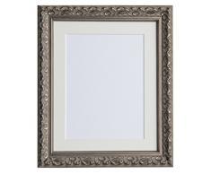 Tailored Frames Marcos a Medida de Vienna Plateado, diseño de Ornamento Vintage, Cuadros Chic, tamaño 35,56 x 30,48 cm, para 25,4 x 20,32 cm, con Marco Blanco Envejecido