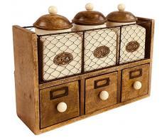 Geko - Armario con 3 tarros y cajones, Madera, cerámica, Metal, Color marrón