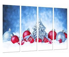 Poster Fotográfico Adornos Navideños, Arbol Navidad Plateado, Bolas Rojo Tamaño total: 131 x 62 cm XXL
