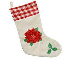 WeRChristmas 48 cm calcetín de Navidad con diseño de flores de pascua acabado a decoración para árbol de Navidad, rojo/blanco
